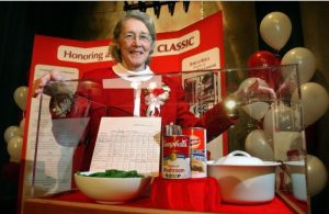 Dorcas presented the original Green Bean Casserole recipe card to the National Inventors Hall of Fame in 2002